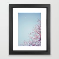 Peek-a-Boo Moon Framed Art Print