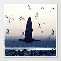 The goose and the seagulls Canvas Print