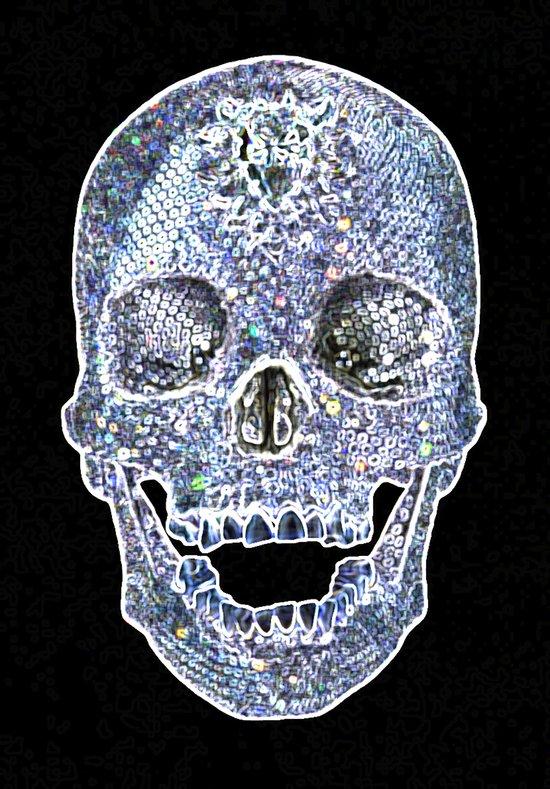 Diamond Neon Skull Art Print