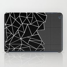 Abstract Grid Outline White on Black on Side iPad Case