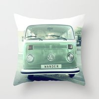 Vintage Wander wolkswagen. Summer dreams. Green Throw Pillow