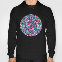 Flourish - a watercolor floral in pink and teal Hoody