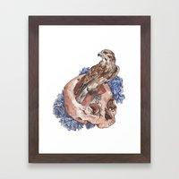 Hawk and Skull Framed Art Print