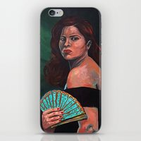 Lady With Fan iPhone & iPod Skin