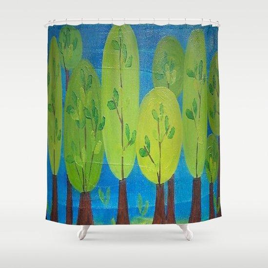 Whimsical Folk Art Trees Shower Curtain By Original Art By Micki Society6