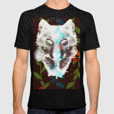 WOLF FLOWER Mens Fitted Tee Tri-Black SMALL