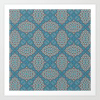 Tribal Tile Blue Art Print