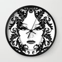 Black and white floral face ornament Wall Clock