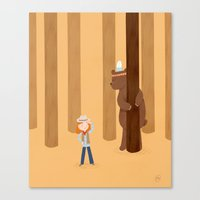 Bear And Girl: Playing Canvas Print