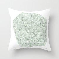 Milan Italy watercolor map Throw Pillow