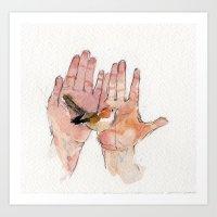 Bird in Hands Art Print
