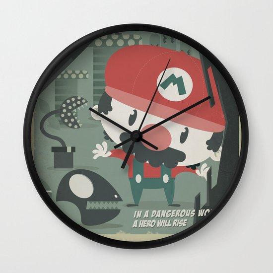 mario bros 4 fan art Wall Clock