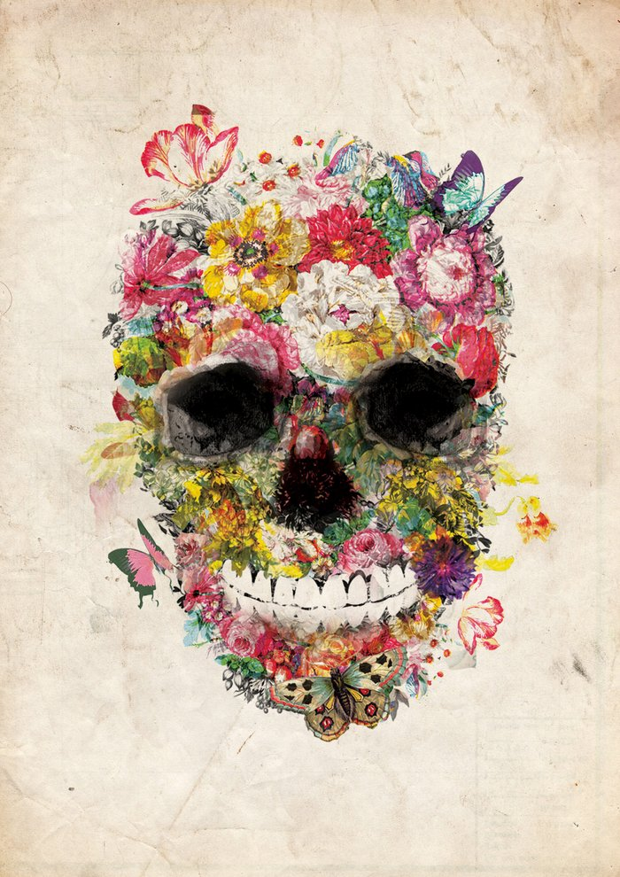 Floral Skull Art Print by Thyme | Society6