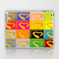 Gold Hearts On Colorful … Laptop & iPad Skin