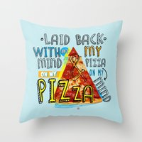My Mind On My Pizza  Throw Pillow
