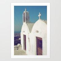 Santorini Churches II Art Print