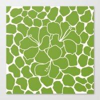 Hibiscus Animal Green Canvas Print