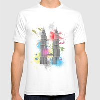 Petronas Towers Abstract Mens Fitted Tee White SMALL