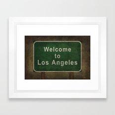 Welcome to Los Angeles, road sign illustration Framed Art Print