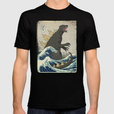 The Great Godzilla off Kanagawa SMALL Black Mens Fitted Tee