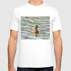 Mallard Duck Pen And Ink By Annie Zeno Mens Fitted Tee White SMALL