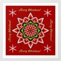 Festive Xmas star, snowflakes and text Art Print