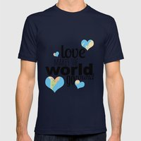 Love Makes The World Go … Mens Fitted Tee Navy SMALL