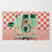 Mint Retro Camera on Red Chequered Background  Rug