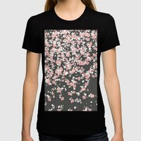 Black Background Pink Sh… Womens Fitted Tee Black SMALL
