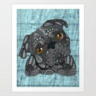 Cute Black Pug Art Print