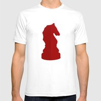 Red Chess Piece - Knight Mens Fitted Tee White SMALL