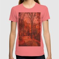 Autumn's Glow Womens Fitted Tee Pomegranate SMALL