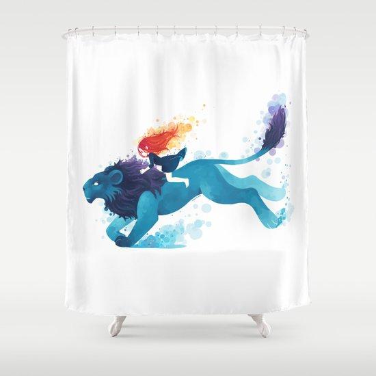 Lion Rider Shower Curtain