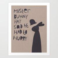 Mister Bunny Hat Art Print