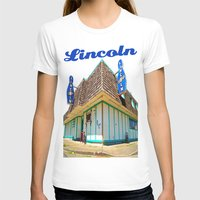 Lincoln Bowling Alley Womens Fitted Tee White SMALL
