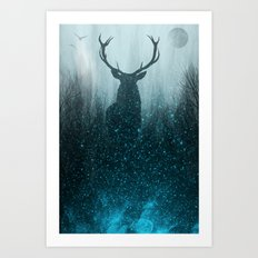 Snow Stag Art Print