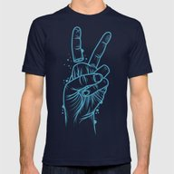 False Peace Mens Fitted Tee Navy SMALL