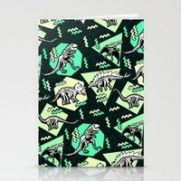 90's Dinosaur Skeleton Neon Pattern Stationery Cards