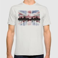 Great British Flag London Skyline 2 Mens Fitted Tee Silver SMALL