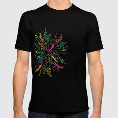 Radial Foliage Black Mens Fitted Tee SMALL