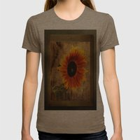 Vintage Sunflower Framed Womens Fitted Tee Tri-Coffee SMALL