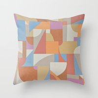 1 Inch Manila Grid Throw Pillow