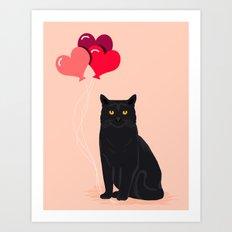 Black Cat Love Balloons … Art Print