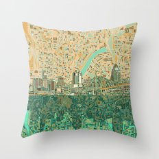 Cincinnati City Skyline Throw Pillow