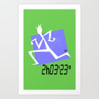 Marathon record time Art Print