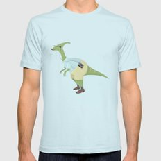 Hipster Dinosaur jams to some indie tunes on his walkman Mens Fitted Tee Light Blue SMALL