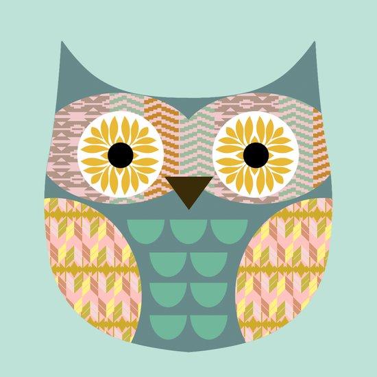 Geometric owl on aqua background Art Print