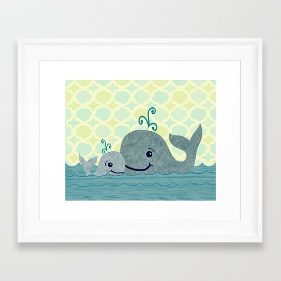 Whale Mom and Baby Framed Art Print