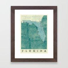 Florida State Map Blue V… Framed Art Print