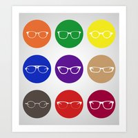 9 Glasses Styles Art Print